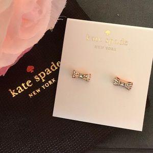 NEW Kate Spade Ready Set Bow Crystal Gold Bows